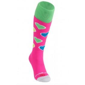 Chaussettes de Hockey - Vêtements de Hockey - kopen - Brabo chaussettes Harts – rose/Lime
