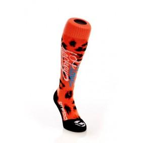 Chaussettes de Hockey - Promotions - Vêtements de Hockey - kopen - Brabo I Love Hockey chaussettes Orange Leopard (EN SOLDE)
